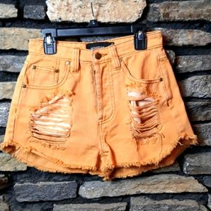 Minkpink button fly factory distressed shorts